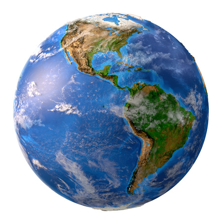 Planet earth. High detailed satellite view of the Earth and its landforms, focused on the American continent, isolated on white background. Elements of this image furnished by NASA - 3D illustration. Stock Photo