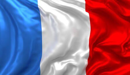 Flagge von Frankreich weht im Wind Standard-Bild - 82509666