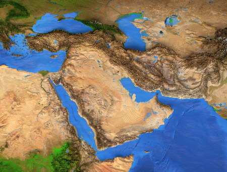 Middle East map - Gulf Region. Detailed satellite view of the Earth and its landforms. Elements of this image furnished by NASA