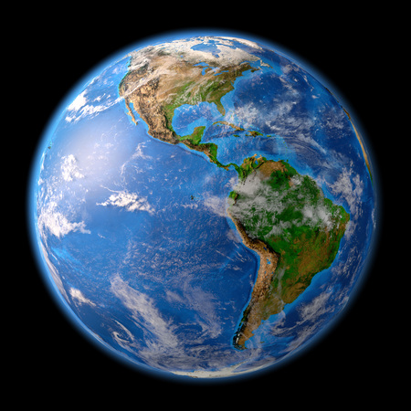 Planeta Tierra. Vista satelital detallada de la Tierra y sus accidentes geográficos, enfocada en el continente americano. Ilustración 3D, elementos de esta imagen proporcionada por la NASA. Foto de archivo - 82740331