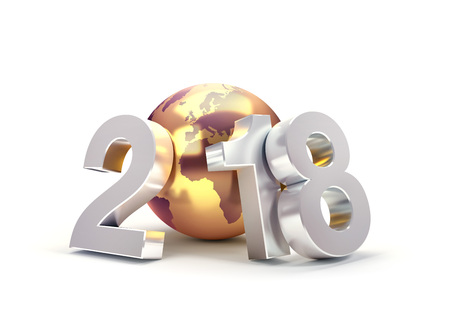 2018 New Year type composed with a golden planet earth, isolated on white - 3D illustration Stock Photo