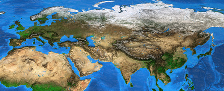 Map of Eurasia. Detailed satellite view of the Earth and its landforms, focused on Europe and Asia. Elements of this image furnished by NASA Stock Photo