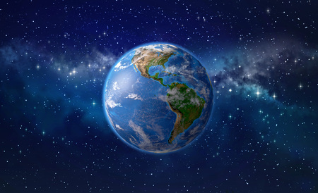 Planet Earth focused on America, star cluster and nebula in outer space. 3D illustration