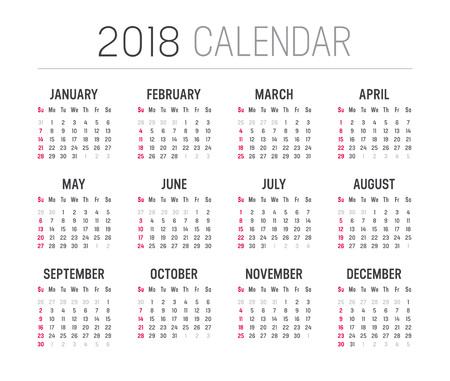 2018 년 미니 캘린더, 흰색 배경에 일러스트