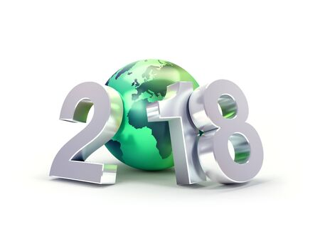 2018 New Year type composed with a green planet earth, isolated on white - 3D illustration Stock fotó