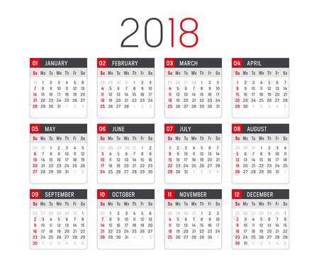 2018 년 미니 캘린더, 흰색 배경에. 일러스트