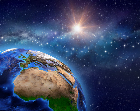Planet Earth in deep space, star cluster, milky way and bright sun shining far behind - 3D illustration - Elements of this image furnished by NASA