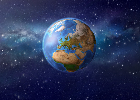 Imaginary view of planet Earth in deep space, focused on Europe, Asia and Africa. 3D illustration