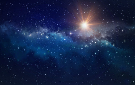 High definition star cluster background, bright sun shining in a milky way