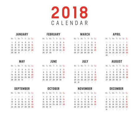 2018 년 미니 캘린더, 흰색 배경에. 벡터 템플릿 - 주 월요일에 시작 일러스트