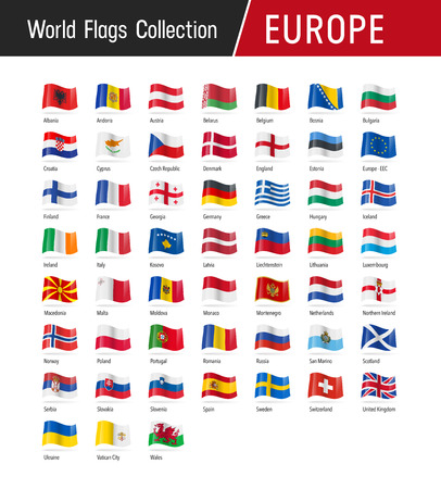 Flags of Europe, waving in the wind - Vector world flags collection