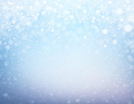 Fiocchi di neve e nevicate su uno sfondo blu congelato - materiale invernale