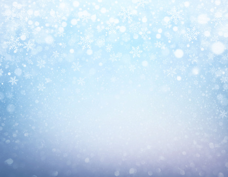 Snowflakes and snowfall on a frozen blue background - Winter material Imagens - 87916987