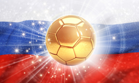 Gold soccer ball shining on the Russian flag. 2018 international soccer event. 3D illustration Stock Photo