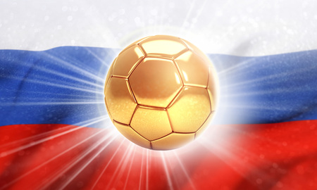 Gold soccer ball shining on the flag of Russia. 2018 international soccer event. 3D illustration