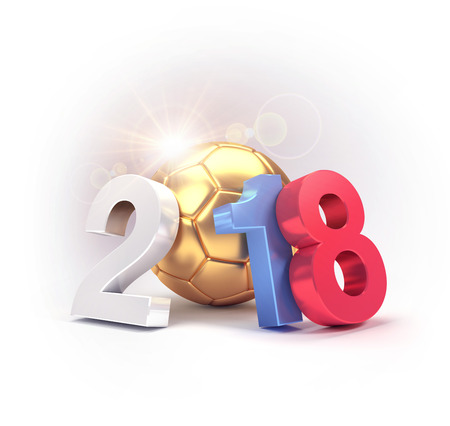 2018 Year type composed with a gold soccer ball, isolated on white, for the international soccer event in Russia. 3D illustration