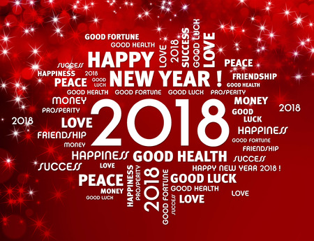 Greeting words around year 2018 typescript on a festive red background Фото со стока - 89259250