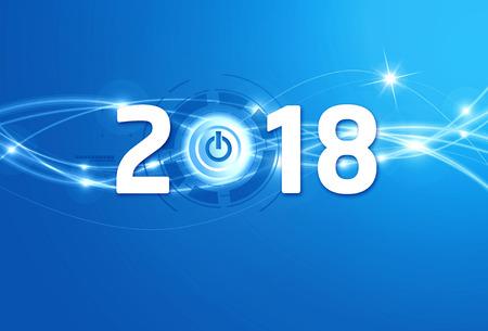 2018 Nieuwjaarstype met een uit-knop op een glanzende blauwe achtergrond Stockfoto