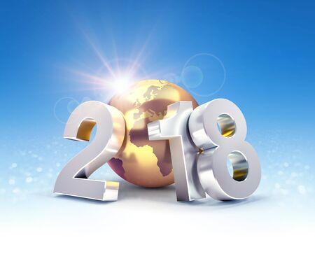 De typografische datum van het nieuwjaar 2018 samengesteld met een gouden aarde, op een glanzende blauwe achtergrond - 3D illustratie Stockfoto - 89259075