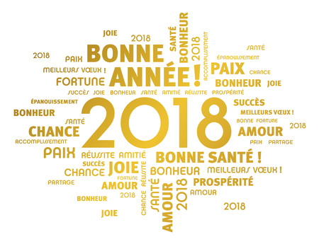 Gold greeting French words around year 2018 typescript, isolated on white