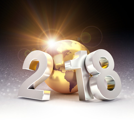 2018 New Year typografie samengesteld met een gouden planeet aarde, op een glinsterende zwarte achtergrond - 3D illustratie Stockfoto