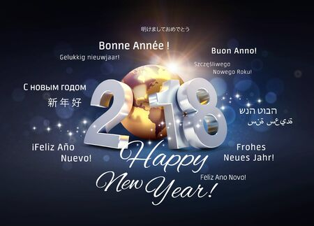 2018 New Year type composed with a golden planet earth, surrounded by greeting words in multiple languages - 3D illustration Imagens - 90947562