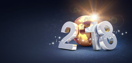 2018 New Year type composed with a planet earth colored in gold, on a glittering black background - 3D illustration