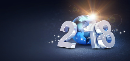 2018 New Year type composed with a planet earth colored in blue, on a glittering black background - 3D illustration