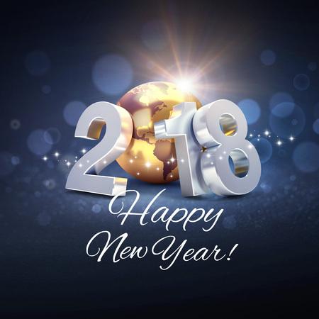 2018新しい年型は、金の惑星地球で構成され、複数の言語で挨拶の言葉に囲まれた-3D イラスト