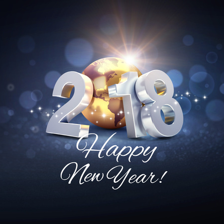 2018 New Year type composed with a gold planet earth, surrounded by greeting words in multiple languages - 3D illustration 스톡 콘텐츠