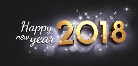 Gold 2018 New Year type and greetings, on a festive black background - 3D illustration