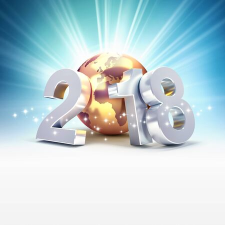 New year date 2018 composed with a golden planet earth, on a shiny blue background - 3D illustration Stock Photo