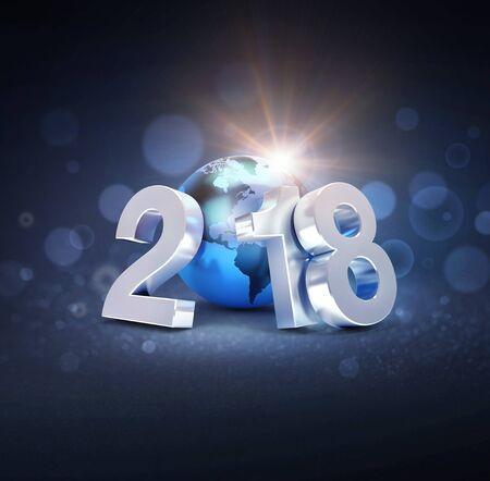 실버 신년 날짜 2018 블루 플래닛 지구, defocused 검은 배경 -3D 일러스트와 함께 작성