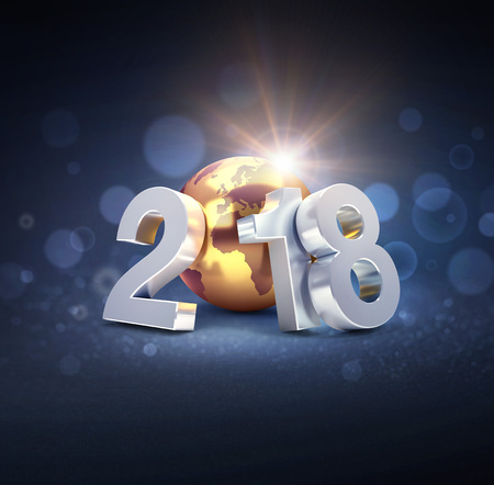 Silver New Year date 2018 composed with composed with a gold planet earth, on a defocused black background - 3D illustration 免版税图像 - 89958196
