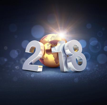 Zilveren nieuwjaarsdatum 2018 gecomponeerd met gecomponeerd met een gouden planeet aarde, op een onscherpe zwarte achtergrond - 3D illustratie