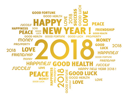 Gold greeting words around year 2018 typescript isolated on white
