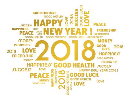 Złote pozdrowienia wyrazy w całym roku 2018 maszynopis na białym Ilustracje wektorowe