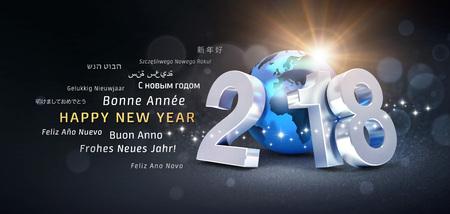 複数の言語の 3 D 図で青い惑星地球と挨拶言葉で構成されて新年日 2018