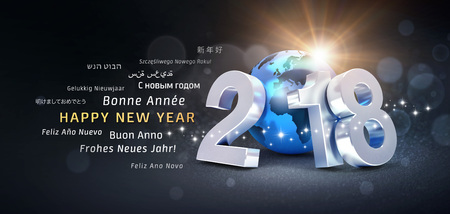 New Year date 2018 composed with a blue planet earth and greeting words in multiple languages - 3D illustration 免版税图像 - 89762706
