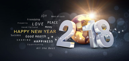 New Year date 2018 composed with a golden planet earth and greeting words - 3D illustration