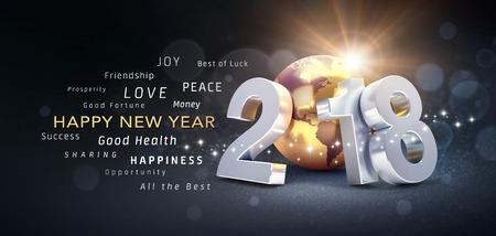 Nieuwjaarsdatum 2018 samengesteld met een gouden aarde en groetwoorden - 3D illustratie Stockfoto