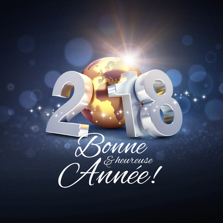 Datum 2018 des neuen Jahres verfasst mit einer goldenen Planetenerde und Grüßen auf französisch - Abbildung 3D
