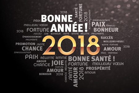 Greeting words in French around New Year date 2018, colored in gold, on a glittering black background Фото со стока - 89762711