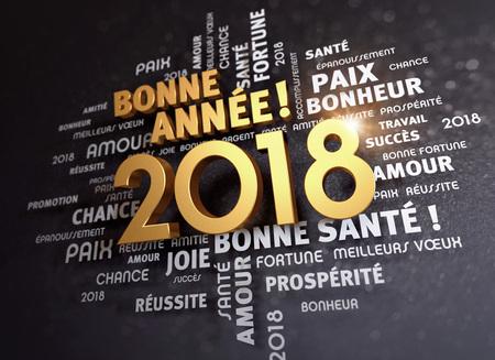 Groetwoorden in het Frans rond Nieuwjaarsdatum 2018, gekleurd in goud, op een schitterende zwarte achtergrond - 3D illustratie