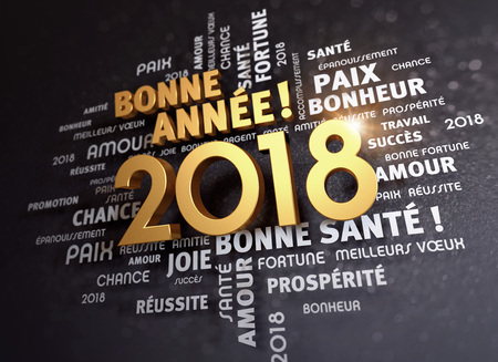 Greeting words in French around New Year date 2018, colored in gold, on a glittering black background - 3D illustration Foto de archivo