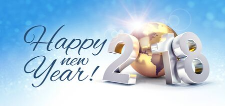 Greetings and silver New Year date 2018, composed with a gold planet earth, on a shiny blue sky background - 3D illustration