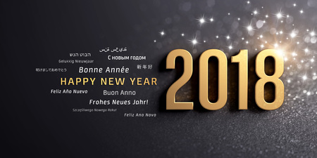 New Year date 2018 colored in gold and greeting words in multiple languages, on a glittering black background - 3D illustration Banco de Imagens