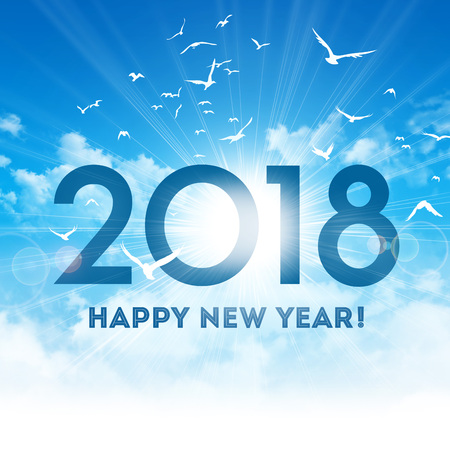 New Year date 2018 and Greetings high in a shiny blue sky, with the sunrise and birds flight