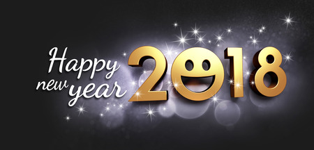 Joyful New year date 2018, smiling face and Greetings, on a glittering black background - 3D illustration