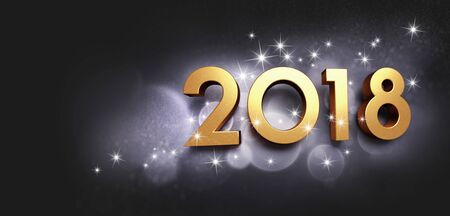 wishing card: New Year date 2018 colored in gold, glittering on a black background - 3D illustration